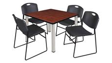 "Cafeteria Tables Regency Furniture 42"" Square Breakroom Table- Cherry/ Chrome & 4 Zeng Stack Chairs"