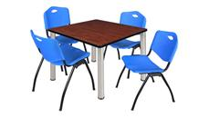 "Cafeteria Tables Regency Furniture 42"" Square Breakroom Table- Cherry/ Chrome & 4"