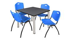"Cafeteria Tables Regency Furniture 42"" Square Breakroom Table- Gray/ Chrome & 4"