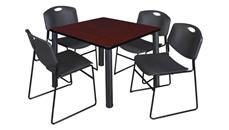 "Cafeteria Tables Regency Furniture 42"" Square Breakroom Table- Mahogany/ Black & 4 Zeng Stack Chairs"