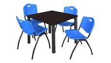 "Cafeteria Tables Regency Furniture 42"" Square Breakroom Table- Mocha Walnut/ Black & 4"