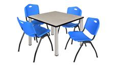 "Cafeteria Tables Regency Furniture 42"" Square Breakroom Table- Maple/ Chrome & 4"
