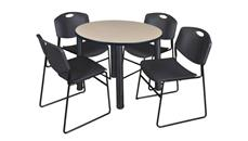 "Cafeteria Tables Regency Furniture 42"" Round Breakroom Table- Beige/ Black & 4 Zeng Stack Chairs"