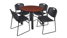 "Cafeteria Tables Regency Furniture 42"" Round Breakroom Table- Cherry/ Black & 4 Zeng Stack Chairs"