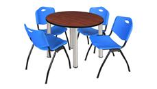 "Cafeteria Tables Regency Furniture 42"" Round Breakroom Table- Cherry/ Chrome & 4"