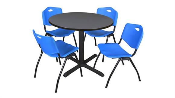 """Cafeteria Tables Regency Furniture 42"""" Round Table with 4 Chairs"""