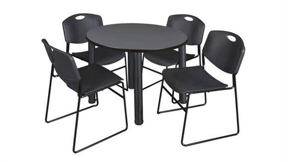 """Cafeteria Tables Regency Furniture 42"""" Round Breakroom Table- Gray/ Black & 4 Zeng Stack Chairs"""
