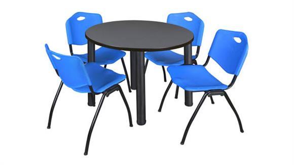 "Cafeteria Tables Regency Furniture 42"" Round Breakroom Table- Gray/ Black & 4"