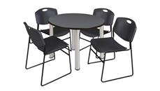 "Cafeteria Tables Regency Furniture 42"" Round Breakroom Table- Gray/ Chrome & 4 Zeng Stack Chairs"