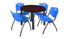 "Cafeteria Tables Regency Furniture 42"" Round Breakroom Table- Mahogany/ Black & 4"
