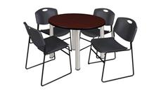 "Cafeteria Tables Regency Furniture 42"" Round Breakroom Table- Mahogany/ Chrome & 4 Zeng Stack Chairs"
