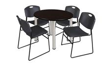 "Cafeteria Tables Regency Furniture 42"" Round Breakroom Table- Mocha Walnut/ Chrome & 4 Zeng Stack Chairs"