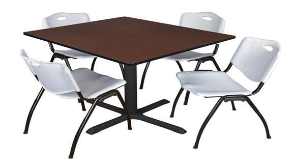 "Cafeteria Tables Regency Furniture 48"" Square Breakroom Table- Java & 4"