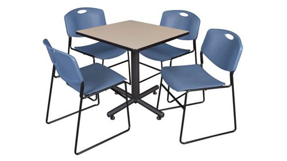 "Cafeteria Tables Regency Furniture 30"" Square Breakroom Table- Beige & 4 Zeng Stack Chairs"