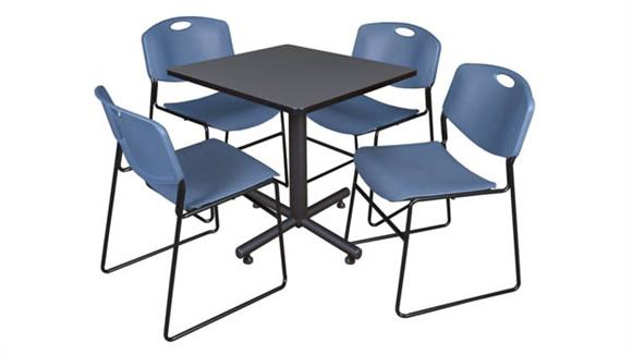 "Cafeteria Tables Regency Furniture 30"" Square Breakroom Table- Gray & 4 Zeng Stack Chairs"