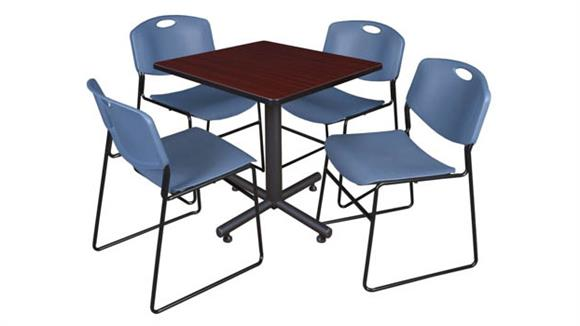 "Cafeteria Tables Regency Furniture 30"" Square Breakroom Table- Mahogany & 4 Zeng Stack Chairs"