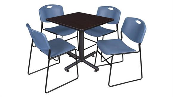 "Cafeteria Tables Regency Furniture 30"" Square Breakroom Table- Mocha Walnut  & 4 Zeng Stack Chairs"