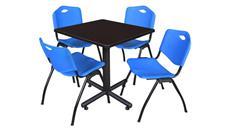 "Cafeteria Tables Regency Furniture 30"" Square Breakroom Table- Mocha Walnut  & 4"