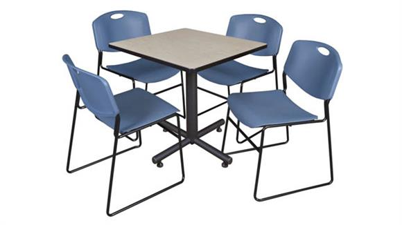 "Cafeteria Tables Regency Furniture 30"" Square Breakroom Table- Maple & 4 Zeng Stack Chairs"