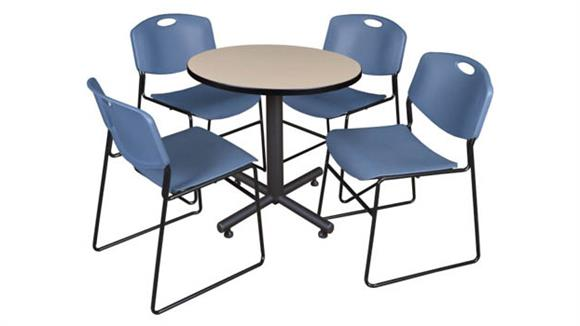 "Cafeteria Tables Regency Furniture 30"" Round Breakroom Table- Beige & 4 Zeng Stack Chairs"