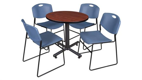 "Cafeteria Tables Regency Furniture 30"" Round Breakroom Table- Cherry & 4 Zeng Stack Chairs"
