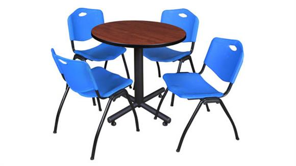 """Cafeteria Tables Regency Furniture 30"""" Round Breakroom Table- Cherry & 4"""