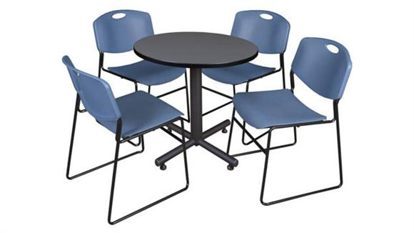 "Cafeteria Tables Regency Furniture 30"" Round Breakroom Table- Gray & 4 Zeng Stack Chairs"
