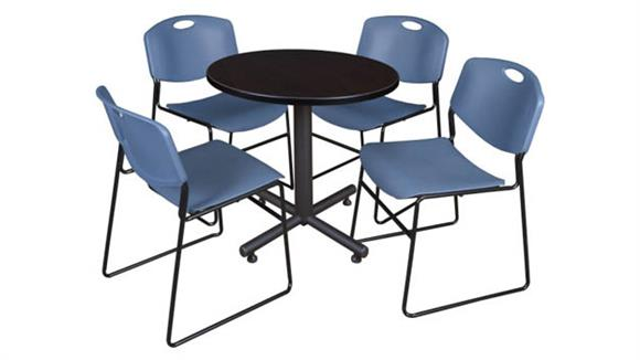 "Cafeteria Tables Regency Furniture 30"" Round Breakroom Table- Mocha Walnut  & 4 Zeng Stack Chairs"