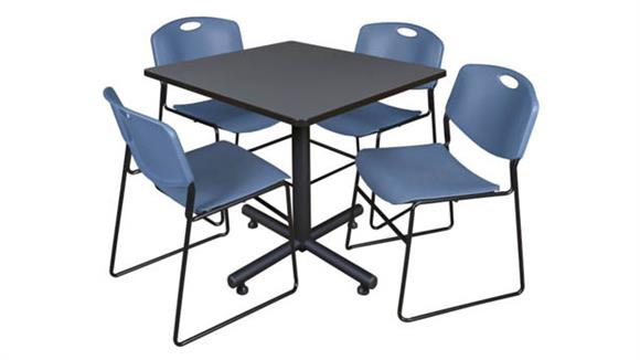 "Cafeteria Tables Regency Furniture 36"" Square Breakroom Table- Gray & 4 Zeng Stack Chairs"