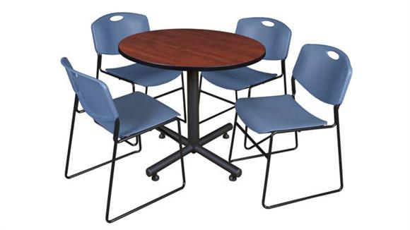 "Cafeteria Tables Regency Furniture 36"" Round Breakroom Table- Cherry & 4 Zeng Stack Chairs"