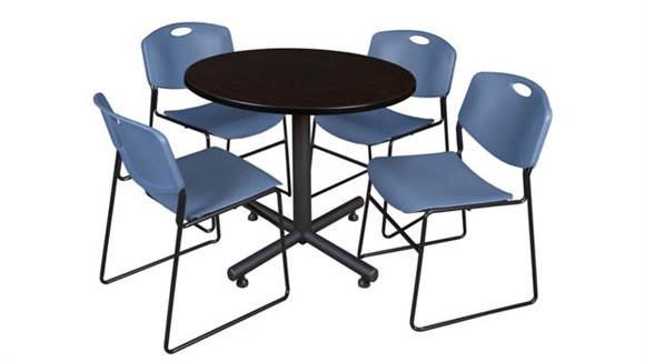 "Cafeteria Tables Regency Furniture 36"" Round Breakroom Table- Mocha Walnut  & 4 Zeng Stack Chairs"