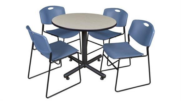 "Cafeteria Tables Regency Furniture 36"" Round Breakroom Table- Maple & 4 Zeng Stack Chairs"