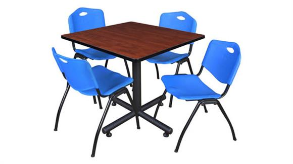 """Cafeteria Tables Regency Furniture 42"""" Square Breakroom Table- Cherry & 4"""