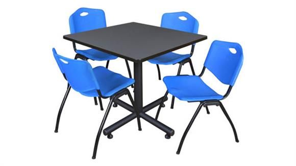 """Cafeteria Tables Regency Furniture 42"""" Square Breakroom Table- Gray & 4"""
