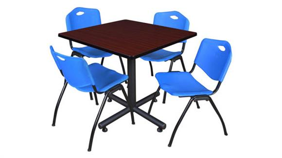 """Cafeteria Tables Regency Furniture 42"""" Square Breakroom Table- Mahogany & 4"""