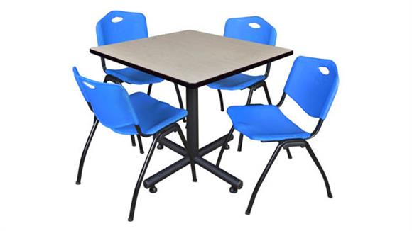"""Cafeteria Tables Regency Furniture 42"""" Square Breakroom Table- Maple & 4"""