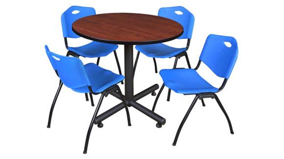 """Cafeteria Tables Regency Furniture 42"""" Round Breakroom Table- Cherry & 4"""