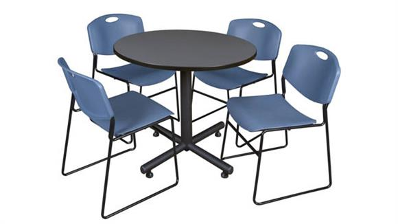 """Cafeteria Tables Regency Furniture 42"""" Round Breakroom Table- Gray & 4 Zeng Stack Chairs"""