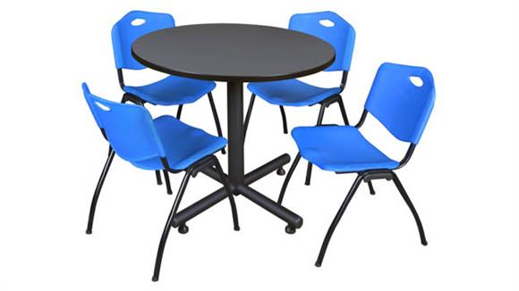 """Cafeteria Tables Regency Furniture 42"""" Round Breakroom Table- Gray & 4"""