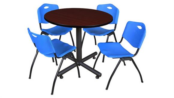 """Cafeteria Tables Regency Furniture 42"""" Round Breakroom Table- Mahogany & 4"""