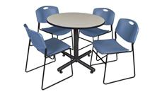 "Cafeteria Tables Regency Furniture 42"" Round Breakroom Table- Maple & 4 Zeng Stack Chairs"