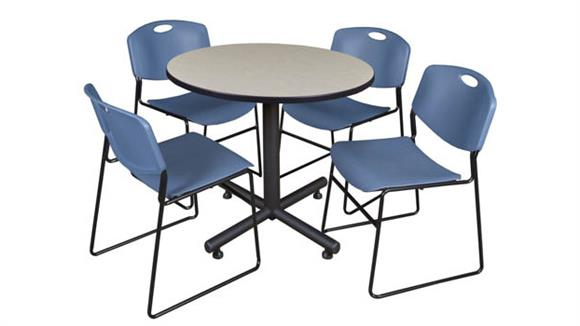 """Cafeteria Tables Regency Furniture 42"""" Round Breakroom Table- Maple & 4 Zeng Stack Chairs"""