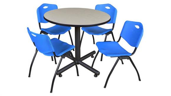 """Cafeteria Tables Regency Furniture 42"""" Round Breakroom Table- Maple & 4"""