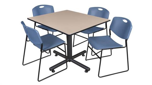 """Cafeteria Tables Regency Furniture 48"""" Square Breakroom Table- Beige & 4 Zeng Stack Chairs"""
