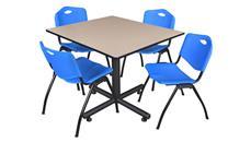 "Cafeteria Tables Regency Furniture 48"" Square Breakroom Table- Beige & 4"