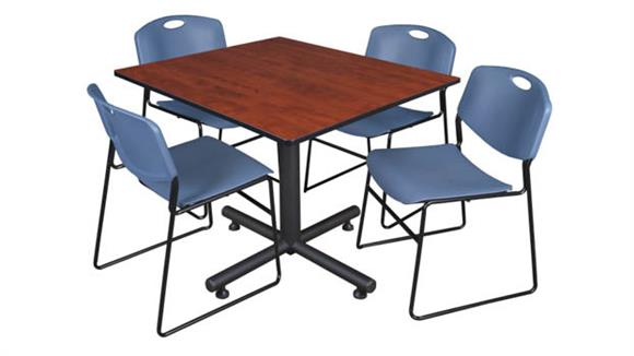 """Cafeteria Tables Regency Furniture 48"""" Square Breakroom Table- Cherry & 4 Zeng Stack Chairs"""