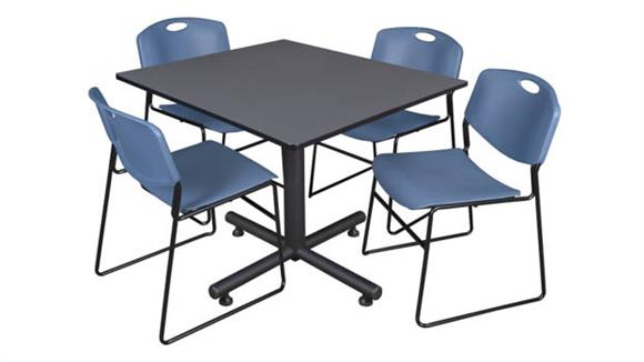 """Cafeteria Tables Regency Furniture 48"""" Square Breakroom Table- Gray & 4 Zeng Stack Chairs"""