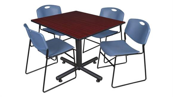 """Cafeteria Tables Regency Furniture 48"""" Square Breakroom Table- Mahogany & 4 Zeng Stack Chairs"""