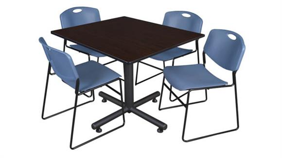 """Cafeteria Tables Regency Furniture 48"""" Square Breakroom Table- Mocha Walnut  & 4 Zeng Stack Chairs"""
