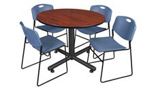 "Cafeteria Tables Regency Furniture 48"" Round Breakroom Table- Cherry & 4 Zeng Stack Chairs"